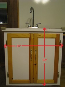 Total height including cabinet base and counter top.