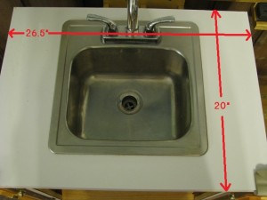 Dimensions and top view of counter and sink.
